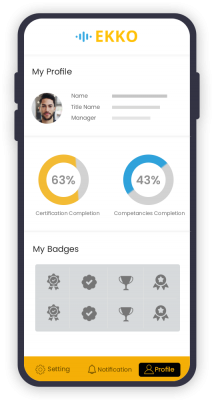 Ekko mobile application to access compliance and learning anywhere and anytime